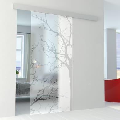 Porta scorrevole con binario esterno Autumn in vetro vetro Kit Alu L 86 x H 215 cm