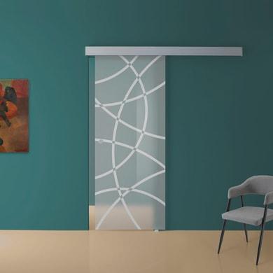Porta scorrevole con binario esterno Circle in vetro Kit A L 88 x H 215 cm