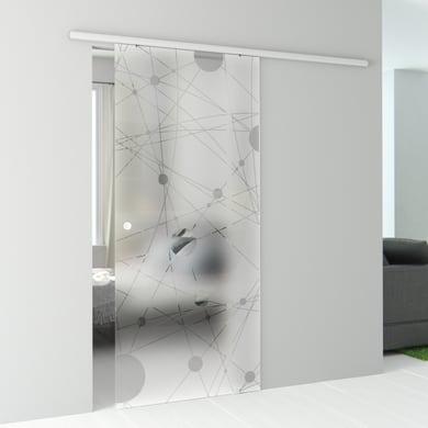 Porta scorrevole con binario esterno Euclide in vetro vetro Kit Atena L 86 x H 215 cm