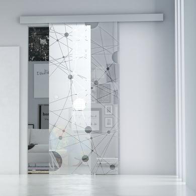 Porta scorrevole con binario esterno Euclide in vetro vetro Kit Alu L 86 x H 215 cm