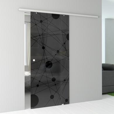Porta scorrevole con binario esterno Euclide Fumè in vetro fumé Kit Atena L 96 x H 215 cm
