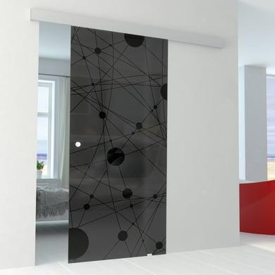 Porta scorrevole con binario esterno Euclide Fumè in vetro fumé Kit Alu L 86 x H 215 cm
