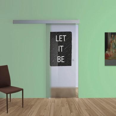 Porta scorrevole con binario esterno Let It Be in vetro Kit A L 88 x H 215 cm sx