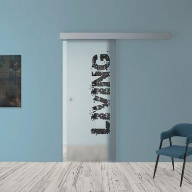 Porta scorrevole con binario esterno Living in vetro Kit A L 88 x H 215 cm