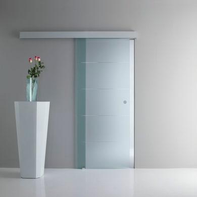 Porta scorrevole con binario esterno Pegaso in vetro Kit A L 85 x H 215 cm