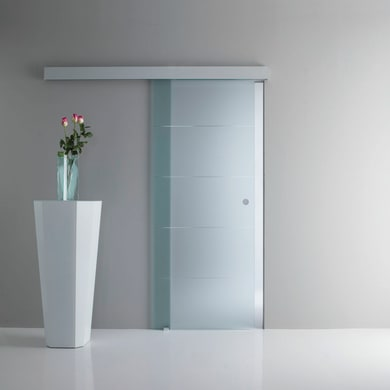 Porta scorrevole con binario esterno Pegaso in vetro Kit A L 76 x H 215 cm