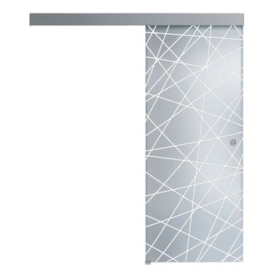 Porta scorrevole con binario esterno Perseide in vetro Kit A L 86 x H 215 cm