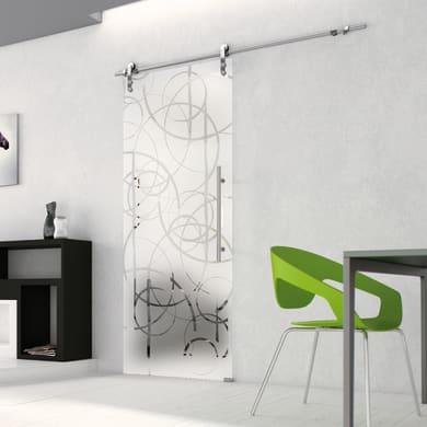 Porta scorrevole con binario esterno Rio in vetro Kit Lux L 96 x H 215 cm dx