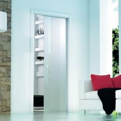 Porta scorrevole a scomparsa Secret bianco L 83 x H 213 cm reversibile