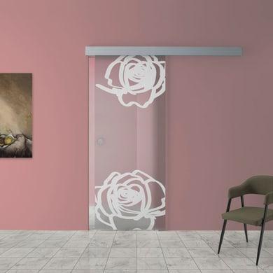 Porta scorrevole con binario esterno Rose in vetro Kit A L 88 x H 215 cm