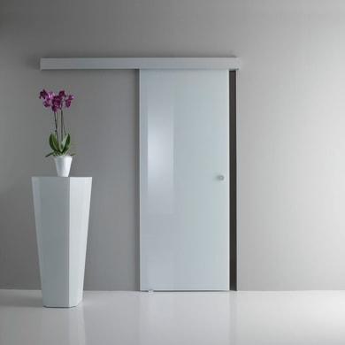 Porta scorrevole con binario esterno Sirio in vetro Kit A L 85 x H 215 cm