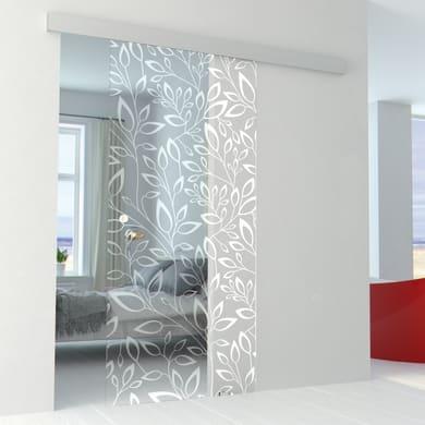 Porta scorrevole con binario esterno Spring in vetro vetro Kit Alu L 86 x H 215 cm