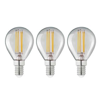 Lampadina LED filamento E14, Globo, Trasparente, Bianco, Luce calda, 4W=470LM (equiv 40 W), 360° , LEXMAN , set di 3 pezzi