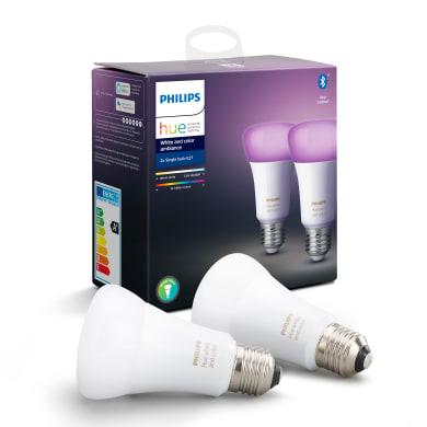 Set di 2  lampadine LED, HUE COLOR BLUETOOTH, E27, Goccia, Opaco, RGB, 9W=806LM (equiv 60 W), 150° , PHILIPS HUE