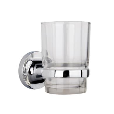 Bicchiere porta spazzolini Elliot in vetro trasparente