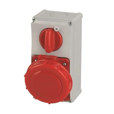 Presa industriale ROSI Interbloccata verticale serie 19. 3 poli + terra bianco e rosso