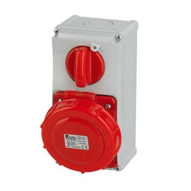 Presa industriale ROSI Interbloccata verticale serie 19. 32 A bianco e rosso