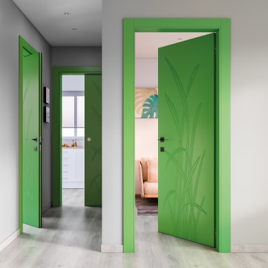 Porta a battente Blades Green verde L 90 x H 210 cm destra