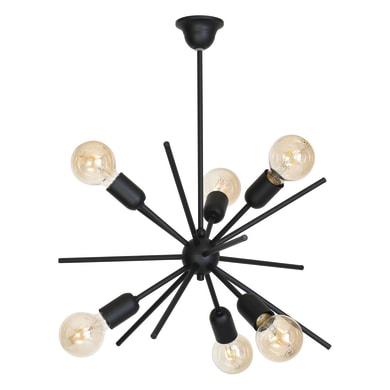 Lampadario Glamour Gemini nero in metallo, D. 56 cm, L. 56 cm, 6 luci