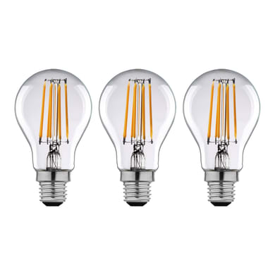 Lampadina LED filamento E27, Goccia, Trasparente, Bianco, Luce calda, 12W=1521LM (equiv 100 W), 360° , LEXMAN , set di 3 pezzi