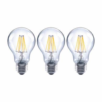 Set di 3  lampadine LED filamento, E27, Goccia, Trasparente, Luce naturale, 7W=806LM (equiv 60 W), 360° , LEXMAN