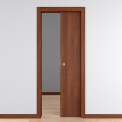 Porta scorrevole a scomparsa Schubert telaio 8.5 cm noce L 80 x H 210 cm reversibile