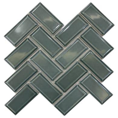 Mosaico H 0.65 x L 27.9 cm verde
