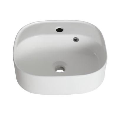 Lavabo da appoggio irregolare in ceramica L 42.9 x P 39.7 x H 16 cm bianco