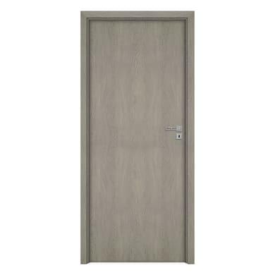 Porta a battente Grey Oak grigio L 80 x H 210 cm reversibile