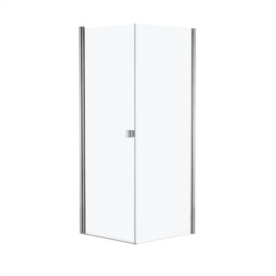 Doccia con porta battente e lato fisso Neo 77 - 79 x 77 - 79 cm, H 200 cm vetro temperato 6 mm cromo PVD