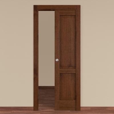 Porta da interno scorrevole Canova rovere noce 60 x H 210 cm dx