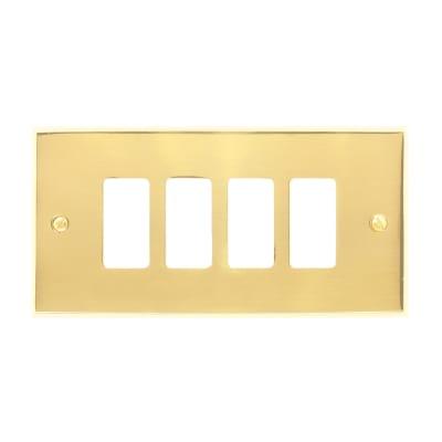 Placca 4 moduli CAL Magic ottone lucido