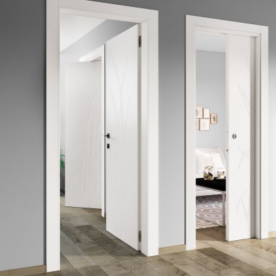 Porta da interno scorrevole Blades white bianco 80 x H 210 cm reversibile