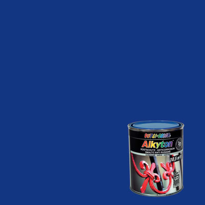 Smalto per ferro antiruggine Alkyton blu RAL 5010 satinato 0,75 L