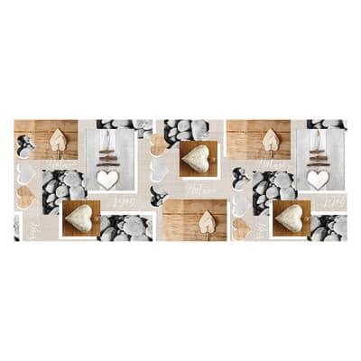 Tappetino cucina antiscivolo Relax cuore beige 50 x 230 cm