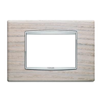 Placca 3 moduli Vimar Eikon Classic rovere bianco