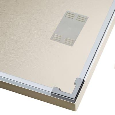 Doccia con porta scorrevole e lato fisso Neo 147 - 151 x 77 - 79 cm, H 200 cm vetro temperato 6 mm trasparente/bianco opaco