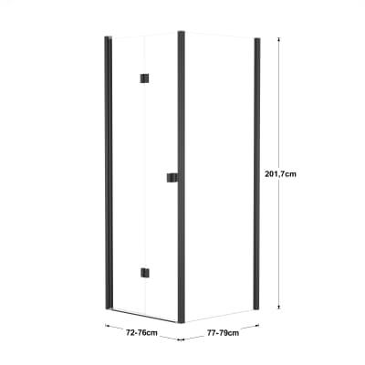 Doccia con porta pieghevole e lato fisso Neo 72 - 76 x 77 - 79 cm, H 201,7 cm vetro temperato 6 mm trasparente/nero