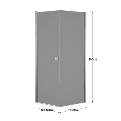 Doccia con porta battente e lato fisso Neo 81 - 83 x 77 - 79 cm, H 200 cm vetro temperato 6 mm fumè/silver