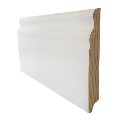 Battiscopa impiallacciato laccato bianco 15 x 100 x 2500 mm
