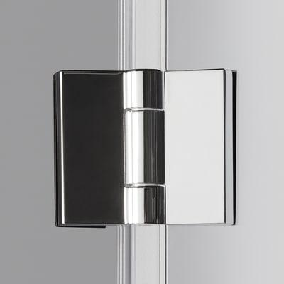 Doccia con porta pieghevole e lato fisso Neo 87 - 91 x 77 - 79 cm, H 201,7 cm vetro temperato 6 mm fumè/silver