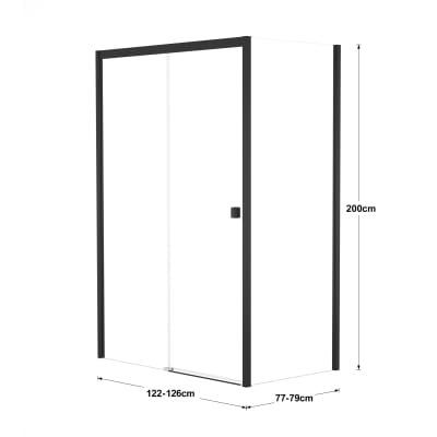 Doccia con porta scorrevole e lato fisso Neo 122 - 126 x 77 - 79 cm, H 200 cm vetro temperato 6 mm trasparente/nero