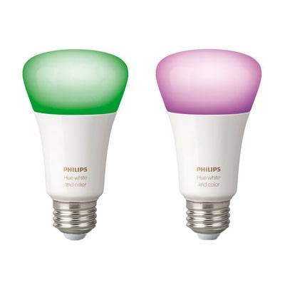 2 lampadine smart LED Philips Hue E27 =60W goccia multicolore (RGB) 220°