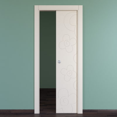 Porta da interno scorrevole Flower ivory avorio 80 x H 210 cm reversibile