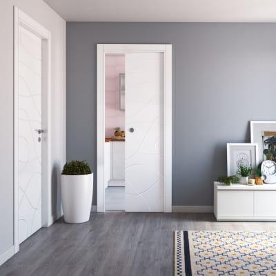 Porta da interno scorrevole Wind white bianco 80 x H 210 cm reversibile