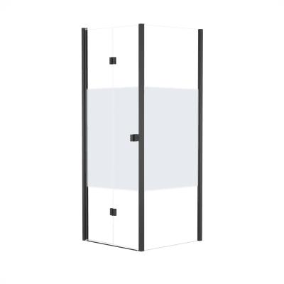 Doccia con porta pieghevole e lato fisso Neo 67 - 71 x 77 - 79 cm, H 201,7 cm vetro temperato 6 mm serigrafato/nero