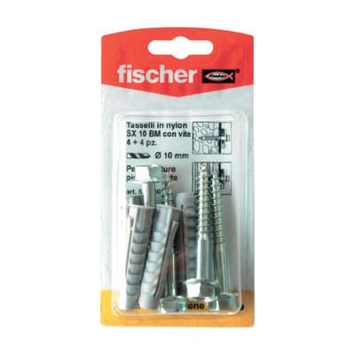 4 tasselli Fischer SX ø 10 x 50  mm con vite