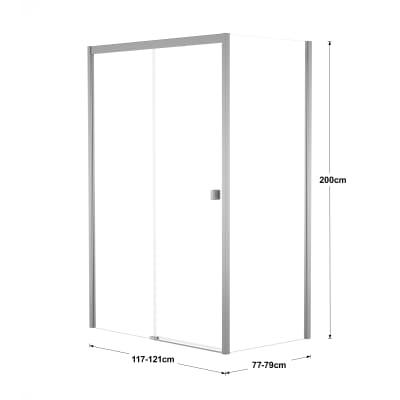 Doccia con porta scorrevole e lato fisso Neo 117 - 121 x 77 - 79 cm, H 200 cm vetro temperato 6 mm trasparente/silver