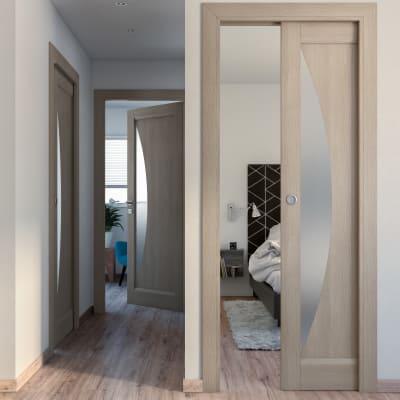 Porta da interno battente Halfmoon paglia 60 x H 210 cm sx