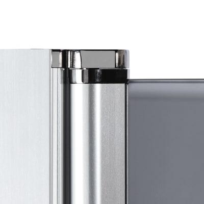 Doccia con porta battente e lato fisso Neo 87 - 89 x 77 - 79 cm, H 200 cm vetro temperato 6 mm serigrafato/nero